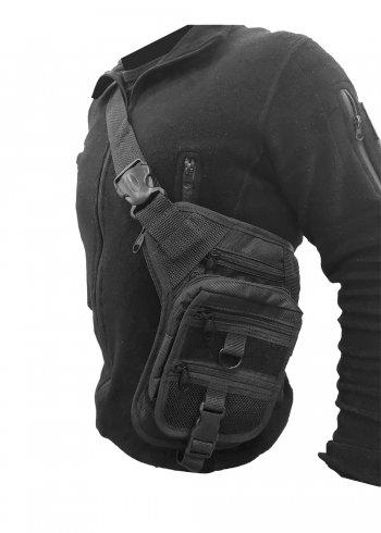 Siyah akar omuz ve bel silah taşıma çantası