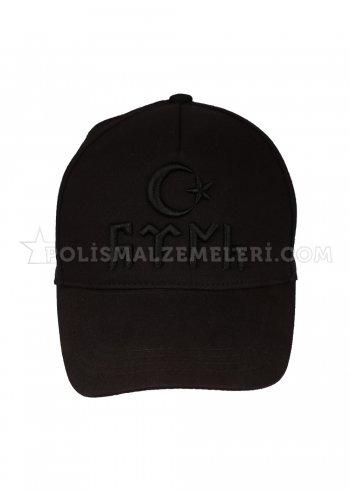 Siyah göktürkçe yazılı şapka